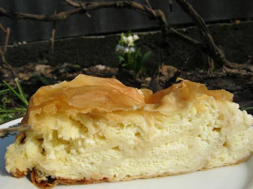 Пирог из теста фило на разрезе