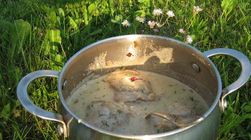 Тушеная курица со сливками, фото