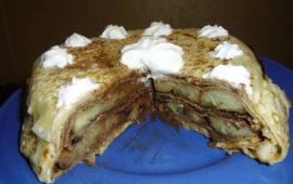 Блинный торт с бананами и шоколадом—   сладкая провокация