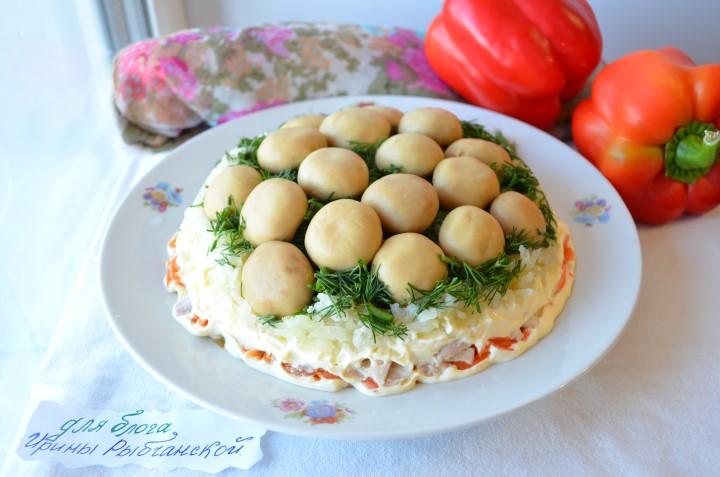 рецепт салата с шампиньонами с фото