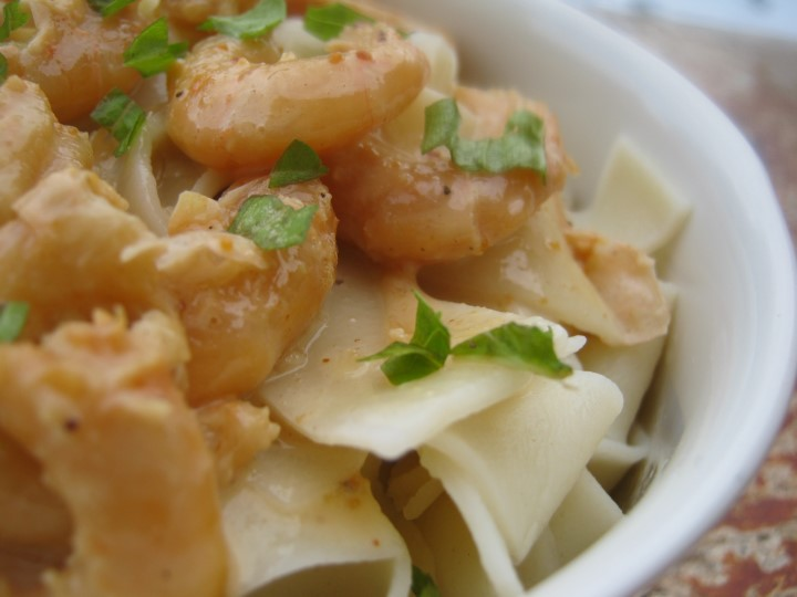Рецепт пасты с креветками в соевом соусе