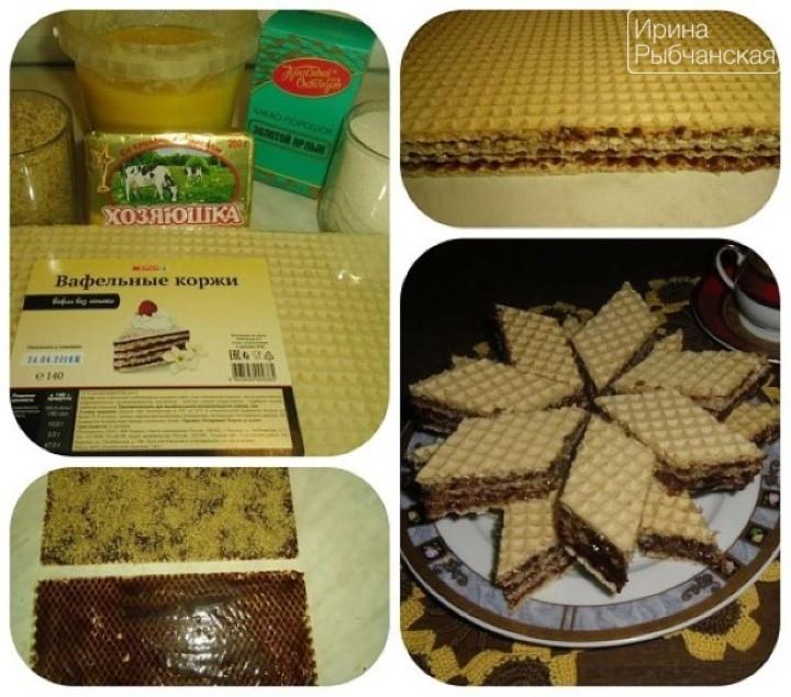 Рецепт торта из готовых вафельных коржей с кремом