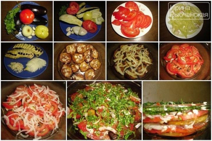 Миниатюра к статье Необычный летний салат из баклажанов, перца и помидоров
