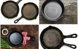 Как почистить и прокалить старые чугунные сковороды до состояния новых