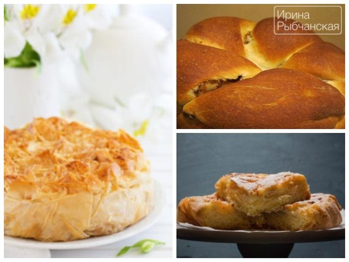 Постный пирог с яблоками из различных видов теста